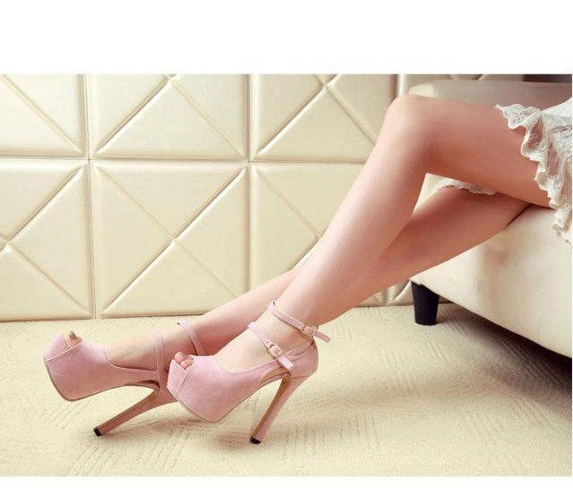 New Sexy Peep Toe Thin Heels Women Pumps Suede Platform Ankle Strap Pumps Wedding Party Shoes Pumps For Women 5