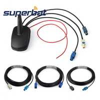 Superbat Car Multi-band Combined Antenna DAB+GPS+FM Radio Amplified Shark Fin Roof Mount Fakra 5m Cable for Alpine Ezi-DAB