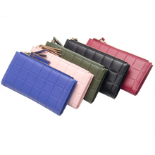 Classic ladies long wallet Korean version of the double zipper buckle clutch bag plaid phone bag embossed handbag purse