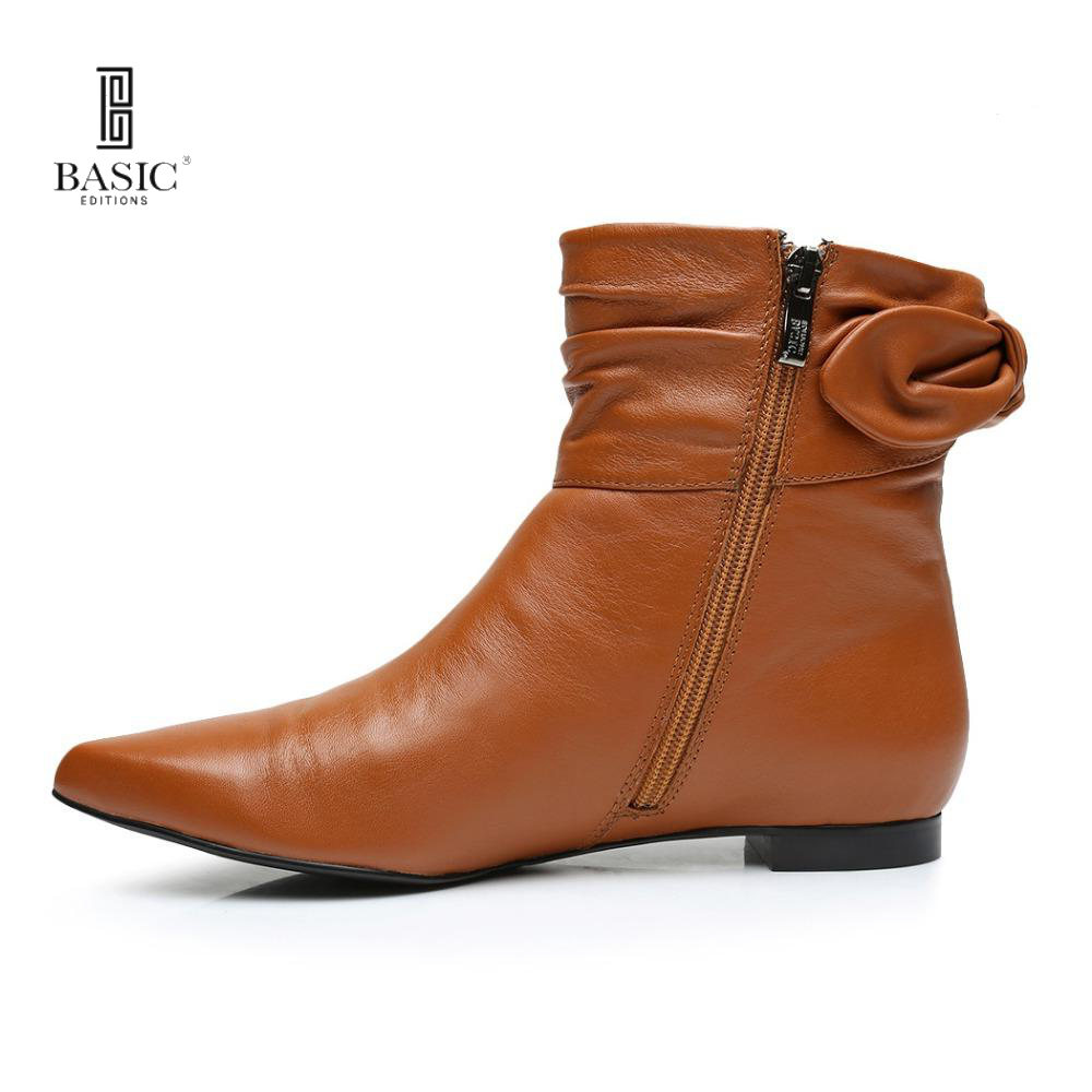 BASIC EDITIONS Women Fashion Leisure Genuine Leather Flat With Zipper Winter Short Boots - 1113-621 туфли basic editions туфли