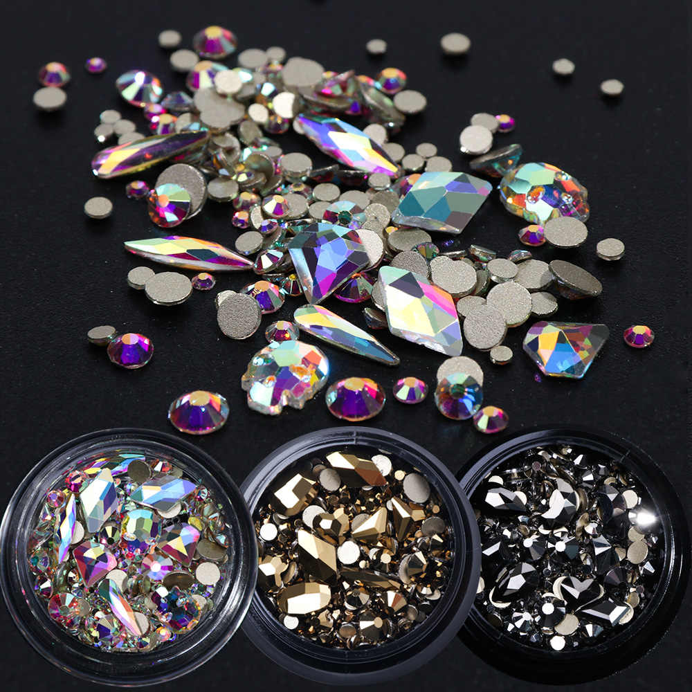 1 Box Mixed 3D Rhinestones Nail Art Decorations Crystal Gems Jewelry Gold AB Shiny Stones Charm Glass Manicure Accessories TR768
