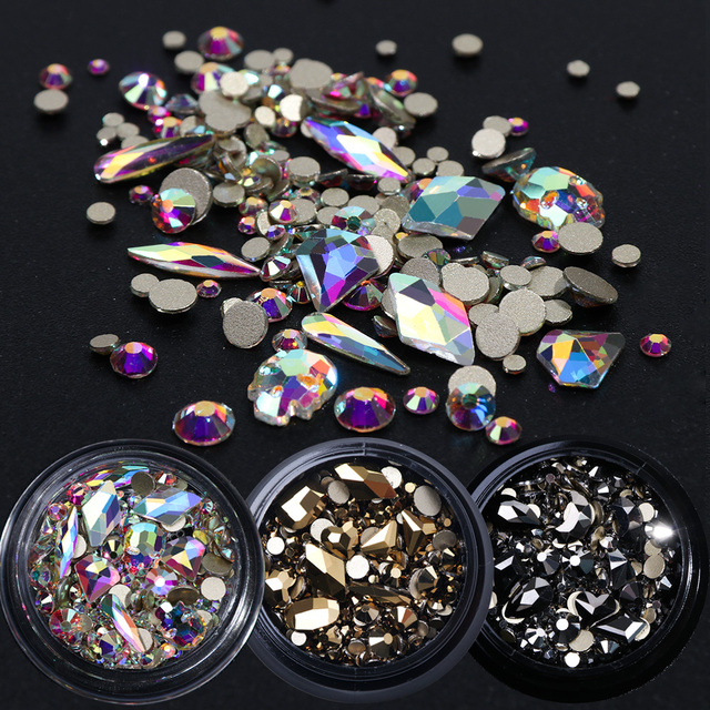 1 Box Mixed 3D Rhinestones Nail Art Decorations Crystal Gems Jewelry Gold AB Shiny Stones Charm