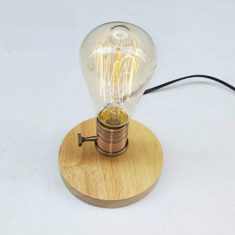 Bedroom Vintage E27 Table Lamp Wood Base Light Dimmer
