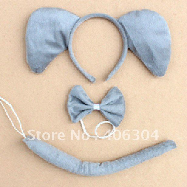 Free shipping ,Promotion ,discount elephant ear headband set  tai bow tieanimal ear headband haiband