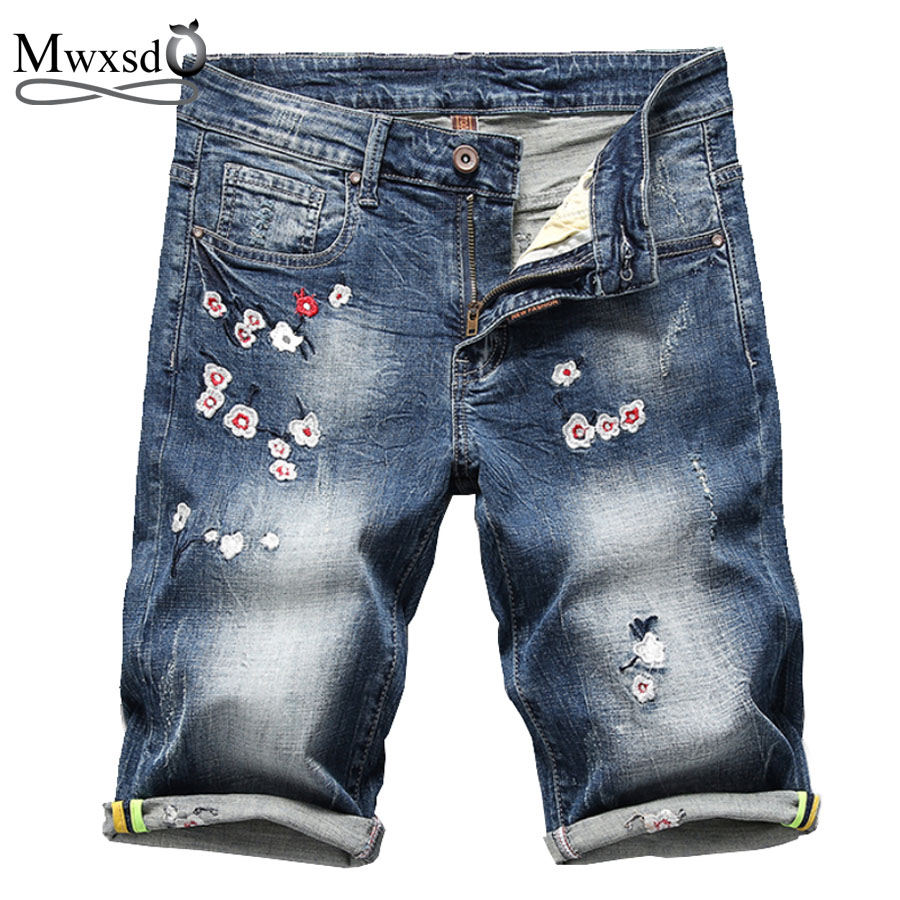 Lovely Mwxsd Brand Summer Mens Casual Cotton Embroidered Denim Shorts Men Plum Hole Shorts Male Soft Elastic Short Pant Big Size 38 40 For Sale Casual Shorts