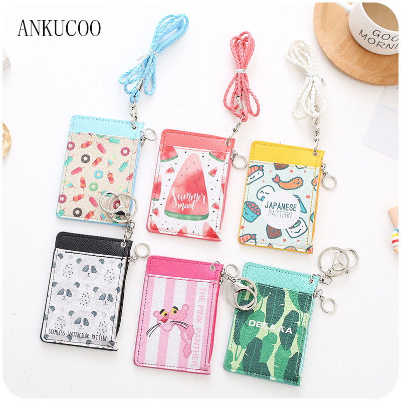 New Cute Flamingo Shaped Named Card Holder Identity Badge with Lanyard PU Neck Strap Card Bus ID IC Holders With Key Chain high grade pu card holder staff identification card neck strap with lanyard badge neck strap bus id holders