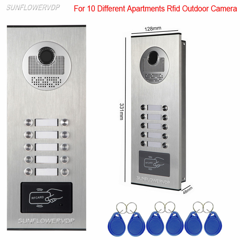 Access Control Rfid Unlock Home Video Door Phone 10 Buttons For 10 Apartments Video Intercom Camera Outdoor CCD Camera Only access control function video door phones intercom systems for 10 apartments with ten 7 lcd and 10 buttons outdoor camera