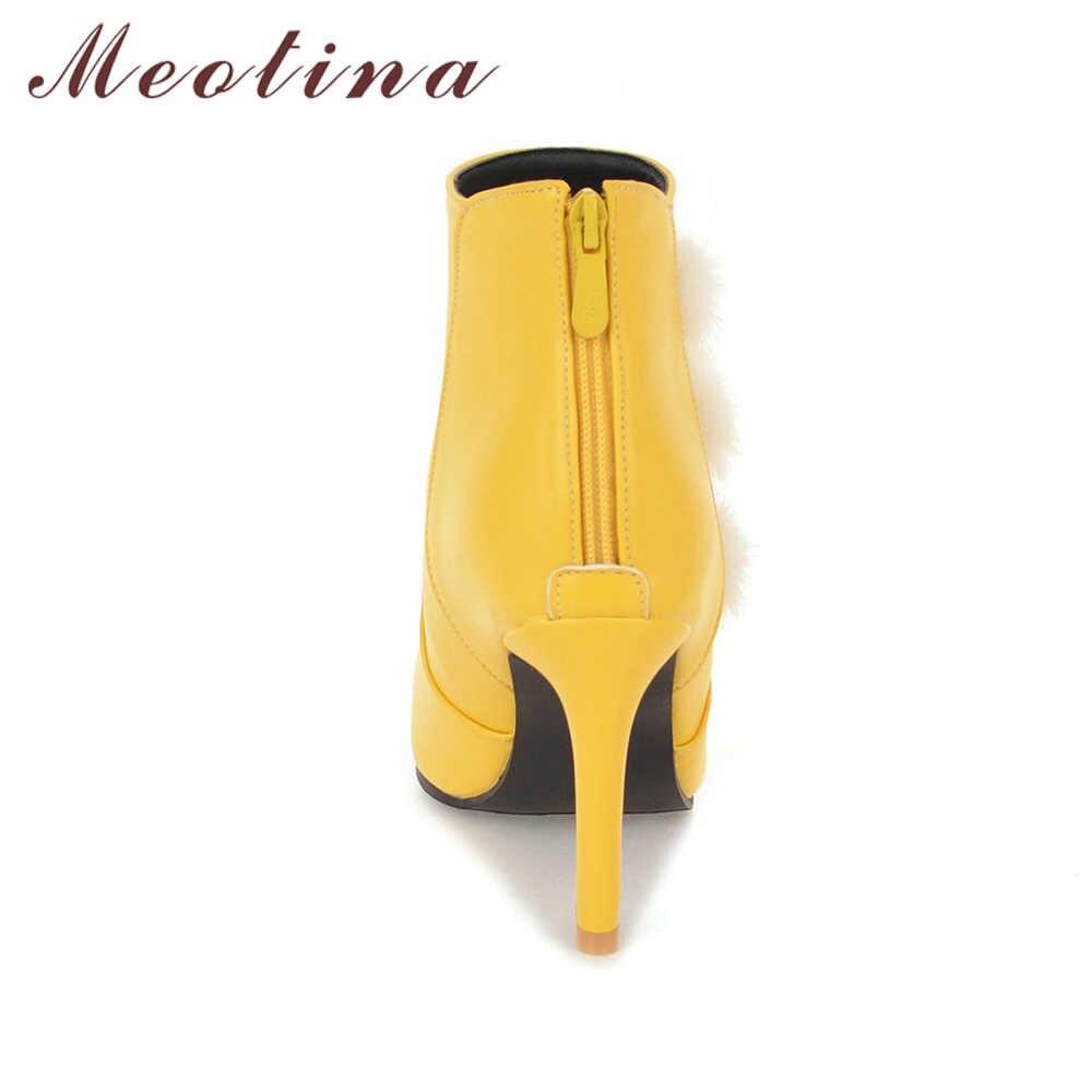 Meotina yarım çizmeler Kış Gerçek Tavşan Kürk Botları Kadın Ince Topuklu Çizmeler Fermuar Seksi Sonbahar Bayanlar Kısa Ayakkabı Siyah Beyaz Büyük 46