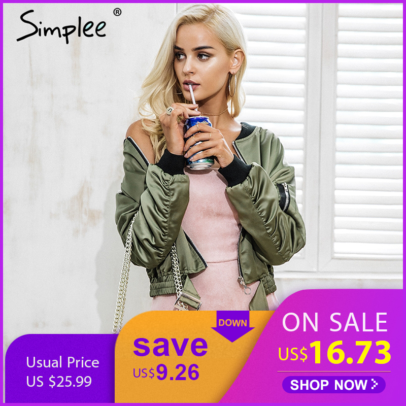 Simplee Winter waist belt bomber   jacket   coat Women cool autumn back zipper   basic     jacket   Female army green biker   jacket   outerwear
