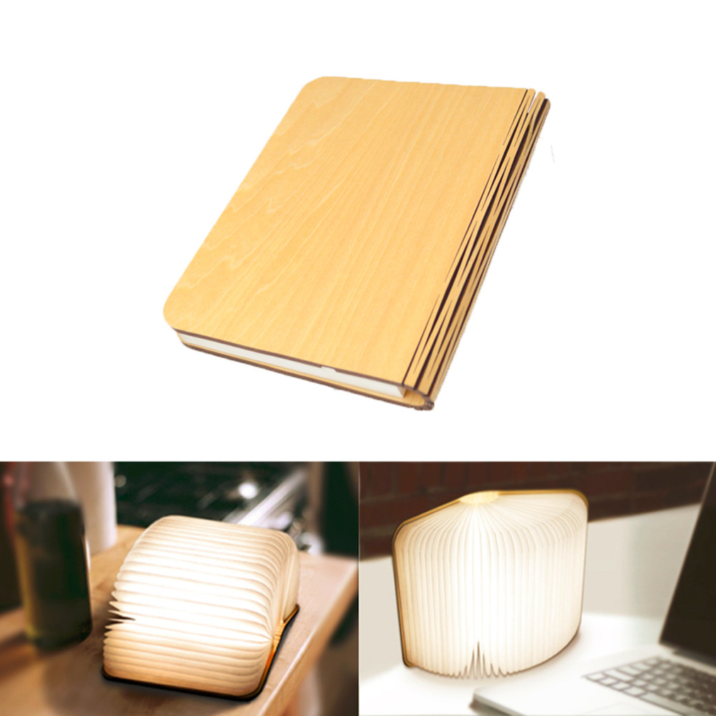 Innovative LED Foldable Wooden Book Shape Desk Lamp