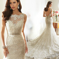 luxury lace Sexy scoop lace fishtail small tail bride wedding dress 2016 new Korean custom