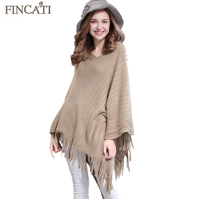 Poncho Shawl 2018 Women Fashion Autumn Winter Cable Knitted Patchwork Tassels  Hem Long Casual Wrap Swing