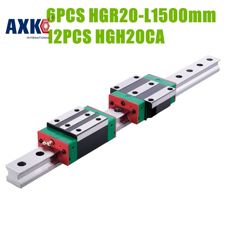 AXK HIWIN HGR20 Linear Guide 6pcs HGR20 -L1500mm rail +12pcs HGH20CA narrow blocks free shipping to argentina 2 pcs hgr25 3000mm and hgw25c 4pcs hiwin from taiwan linear guide rail