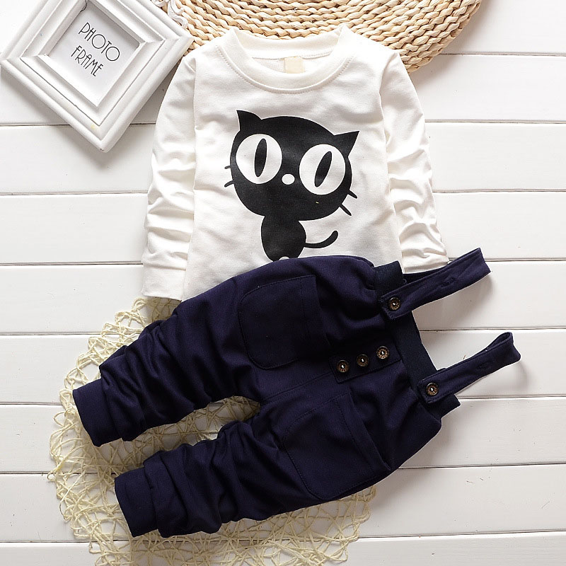 Baby Boy Clothes 2017 New Brand Infant Clothing Cartoon OWL Full Sleeved T-shirts Tops + Overalls Outfit Kids Bebes Jogging Suit