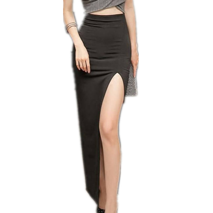 New High Waist Long Skirt Sexy Retro Split Black Pencil Skirt