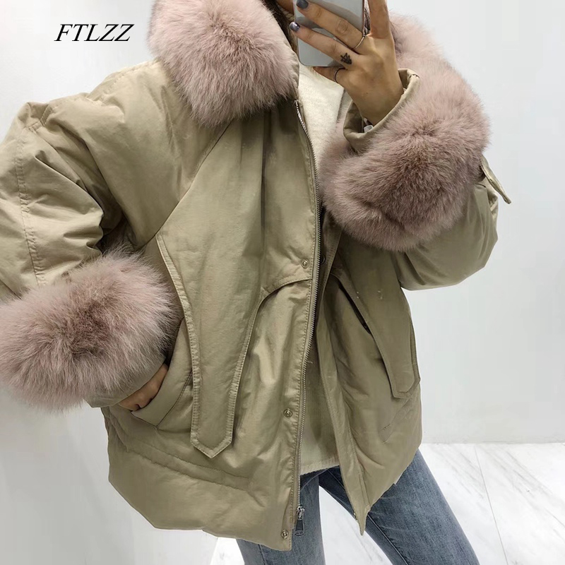 FTLZZ Winter Warm White Duck   Down   Parkas Women Hooded Large Real Fox Fur Collar Feminino   Coat   Casual Loose Army Green Outwear
