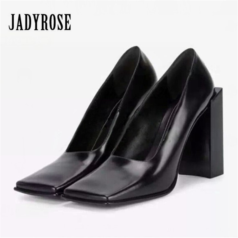 Jady Rose Black Designer Women Pumps Square Toe Sexy Ladies Chunky High Heels Wedding Dress Shoes Woman Stiletto Valentine Shoes jady rose 2018 new strange heel women pumps pointed toe high heels female wedding dress shoes woman stiletto valentine shoes