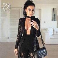 Sexy Rompers Womens Bodysuit 2017 Fashion Long Black Lace Body Club Party Jumpsuits For Women Combinaison