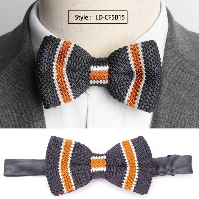 Mens Bowtie Malha Malha Lazer Listrado Arco Laços para Homens Gravata Gravata Tecida Gravata Gravata Borboleta Ajustável Double Deck