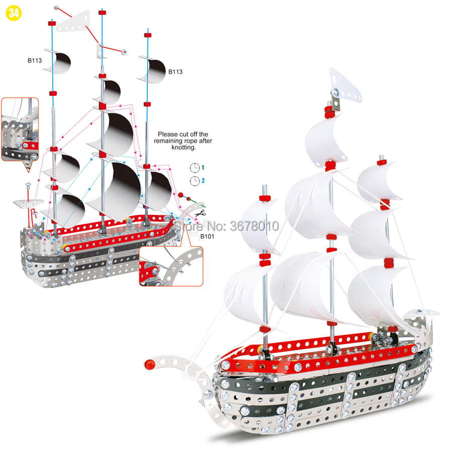 DIY 3D Puzzle Assembly Metal Jigsaw Sailing Ship Model Kits Toy Boat to Assemble. Puzzles Set Educational Gift toys for Kids
