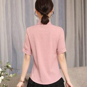 Image 2 - 2019 nuevo elegante verano de las mujeres camisa de moda corto formal manga rayas finas blusa de las señoras de la oficina trabajo tops