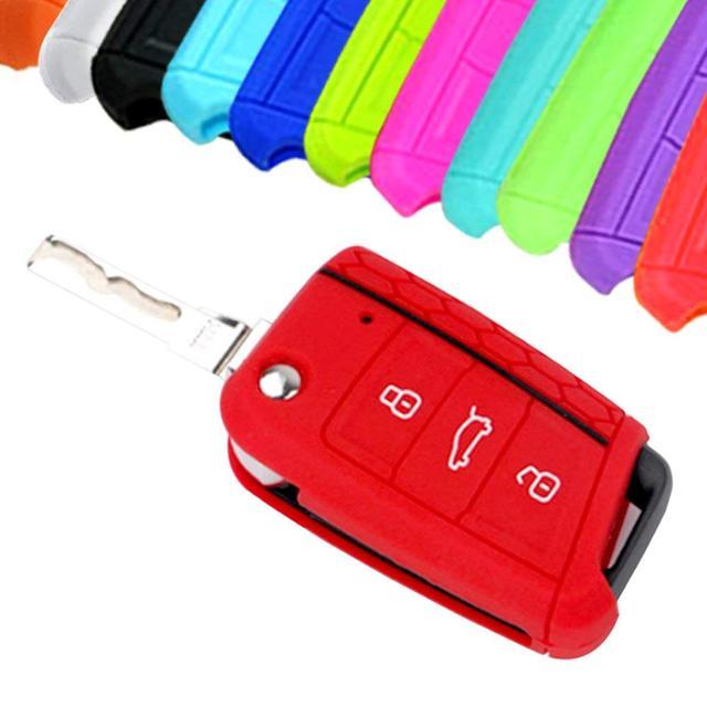 Funda de llaves de silicona a la moda para coche para Volkswagen VW Golf 7 mk7 Skoda Octavia A7, funda para llaves, accesorios para coche