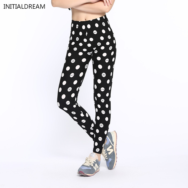 New 2018 white /black dots Printed Legging Fashion Slim Women leggings High Elastic Cotton soft stretch pants female leggins