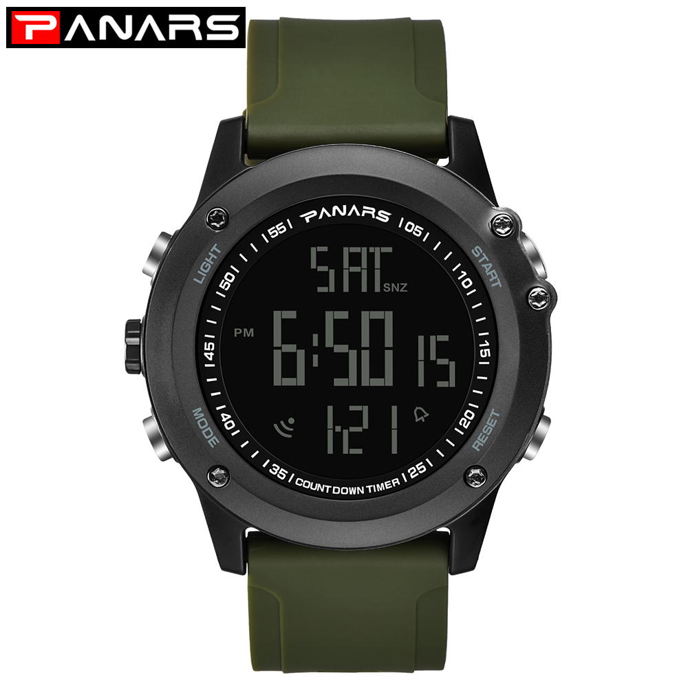 PANARS Digital Watch Men Sport Outdoor Watch Mens Waterproof Watches Dual Time Alarm Clock 12/24 Hours Electronic Wrist Watches