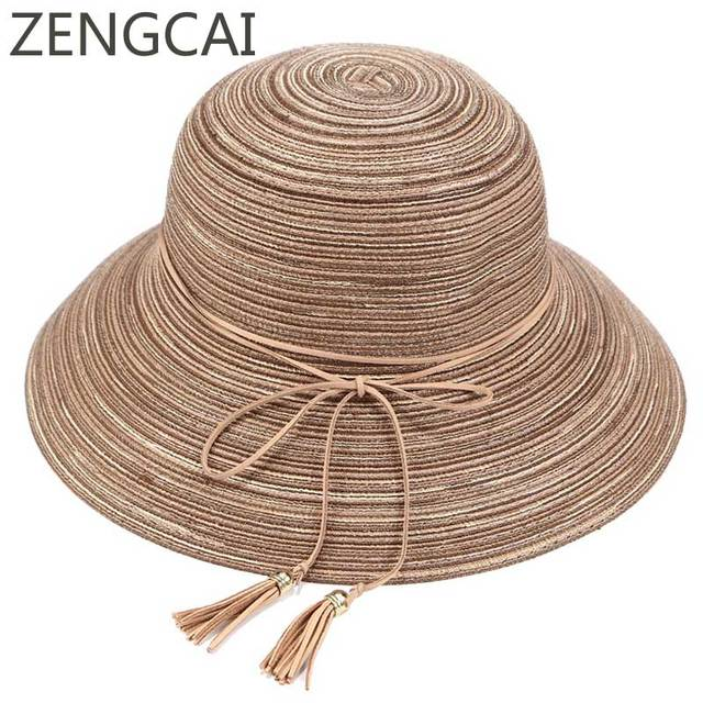 a2d1196b Women Summer Straw Hat Visor Floppy Beach Hat Tassel Fashion Wide Brim Sun  Hats For Ladies Outdoor Foldable Caps Casual Style