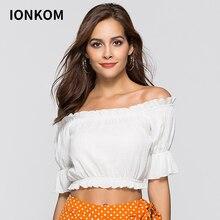 88e8f9b641541f IONKOM White Ruffle Trim Crop Bardot Top Off The Shoulder Short Sleeve Plain  Summer