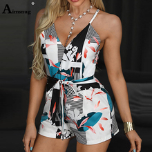 Aimsnug V Neck Sleeveless Women Playsuit With Belt Summer Boho Print Jumpsuit Shorts Casual Loose Jumpsuit Rompers Overall недорого