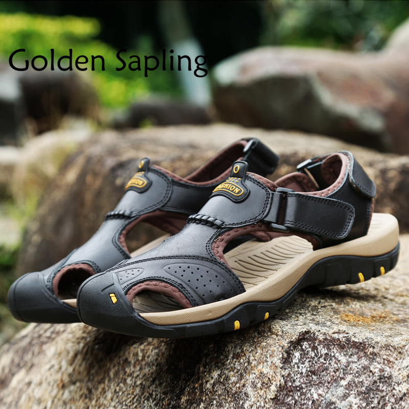 Golden Sapling Summer Hiking Shoes Men Trekking Sandals Breathable Genuine Leather Man Sneakers Outdoor Sandals Tactical Shoes цена