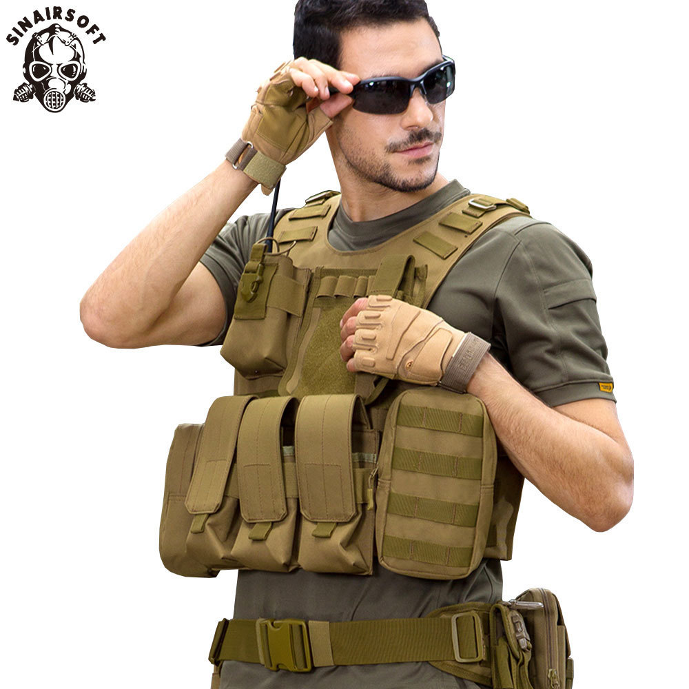 SINAIRSOFT Tactical Vest Airsoft Military Pouches Adjustable Molle Protection Outdoor Fishing Hunting Paintball Amphibious Vest