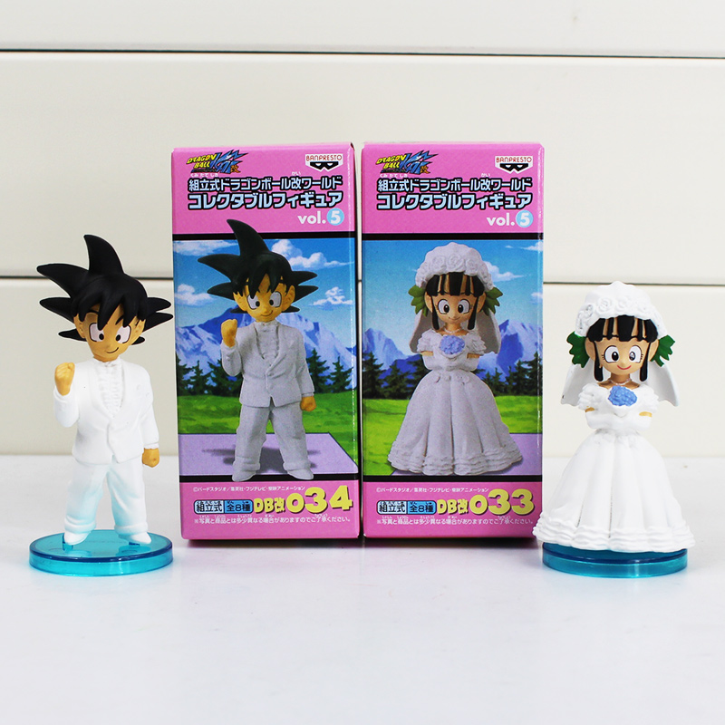 2Pcs/Set Anime Dragon Ball Goku ChiChi Wedding PVC Figure Toys Gokou Figures Model With Base 8cm Free Shipping 8pcs set anime how to train your dragon 2 action figure toys night fury toothless gronckle deadly nadder dragon toys for boys