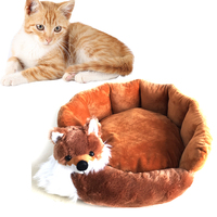 Cute Fox Shaped Pet Dog Bed Removable Cat Sleeping Mat Winter Warm Dog House For Small