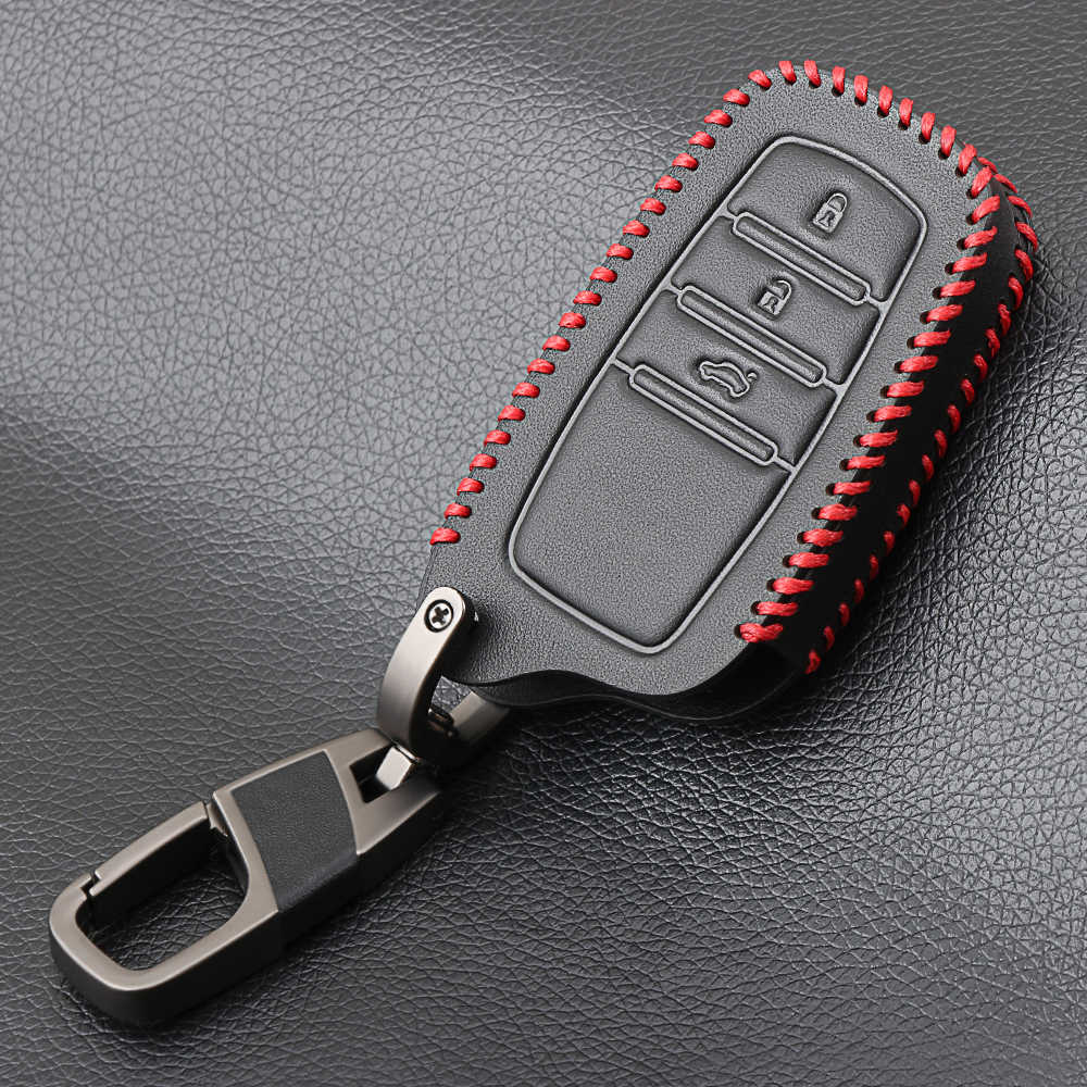 Черные кожаные автомобилей Smart Key чехол для Toyota Camry Coralla Корона RAV4 Highlander 2015 3 кнопки дистанционного ключа защитный основа