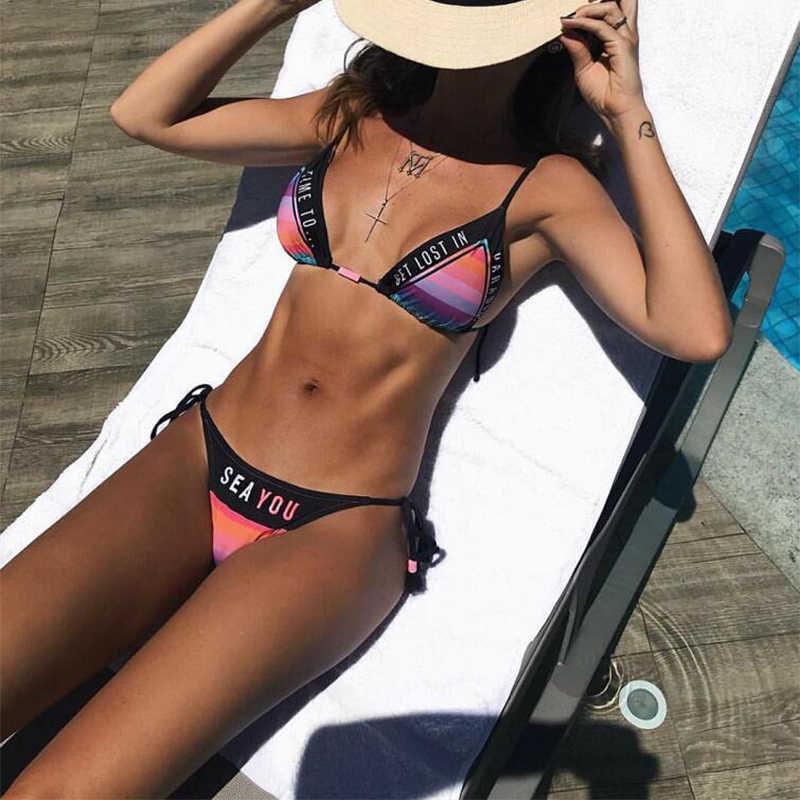 884a3d91e51 Tassel sexy swimwear women halter swimsuit rainbow triangle bikinis set  push up letter brazilian bikini 2018