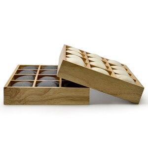Image 3 - FANXI vassoio espositore per gioielli in legno con cuscini in microfibra 12 griglie per esposizione orologio da polso organizzatore allingrosso