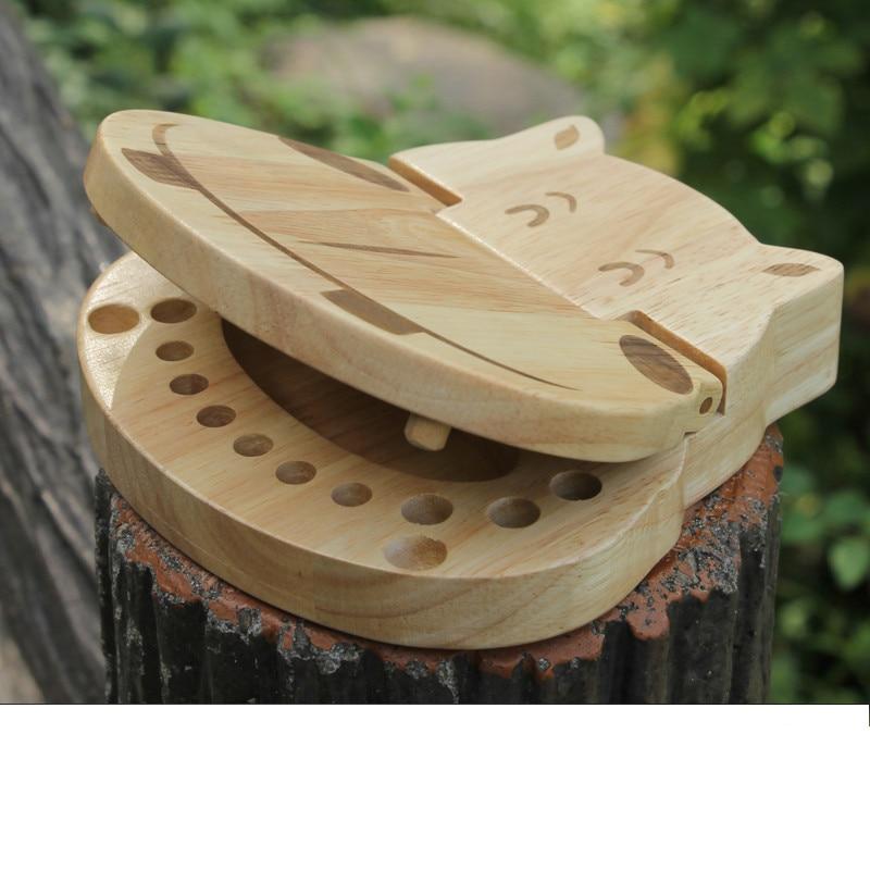 Hippo Tooth Box Organizer For Baby Save Milk Teeth Wood