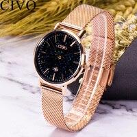 2019 CIVO Top Marca Projetado Moda Relógios Senhoras Relógio de Aço Malha Céu Estrelado relógio de Pulso Cronógrafo À Prova D' Água Relógio de Quartzo|Relógios femininos| |  -