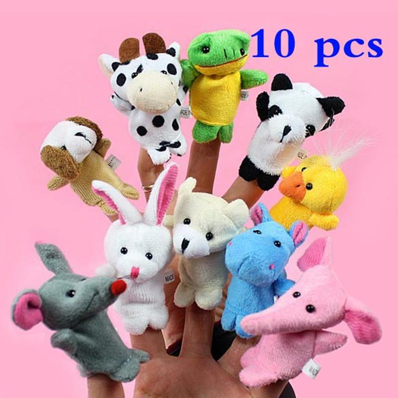 10 pcs/lot Finger Puppets Baby Plush Toy Tell Story Cartoon Animal Doll Hand Puppet Kids Toys Finger with 10 Animal Dolls
