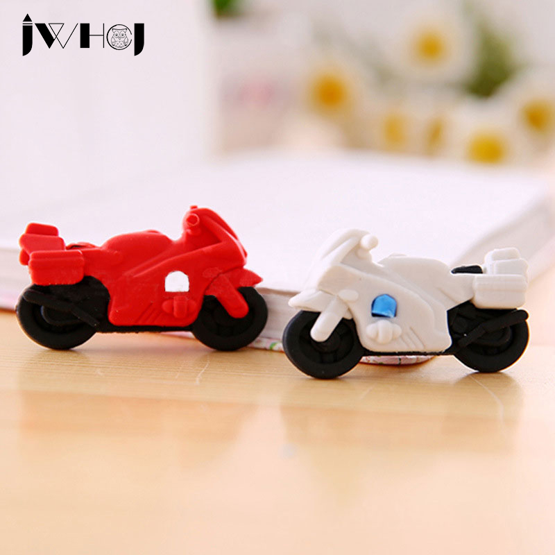 2 pcs/lot lovely motorcycle modelling eraser Kawaii stationery school office correction supplies childs toy gifts