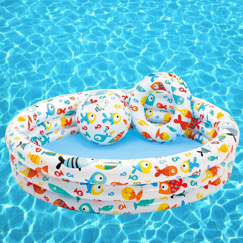 Inflatable Foldable Swimming Pool With Swim Ring Beach Ball Set Kids Water  Play Mat Swim Rug Game Fun Toys For Baby Seaside In Inflatable Bouncers  From Toys ...