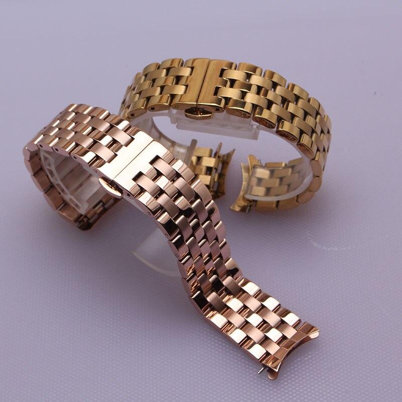 Ремешок для часов с изогнутыми концами, браслет из розового золота, 16 мм, 18 мм, 20 мм, 22 мм, 24 мм, для мужчин и женщин, аксессуары для наручных час