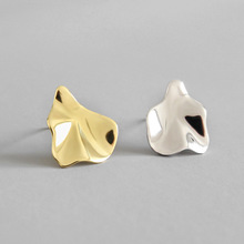 Smooth Small Simple Puzzle Stud Earrings 100% S925 Pure Silver Gold Leaves Irregular geometry Ear Fashion Jewelry woman Gift smooth small simple puzzle stud earrings 100% s925 pure silver gold leaves irregular geometry ear fashion jewelry woman gift