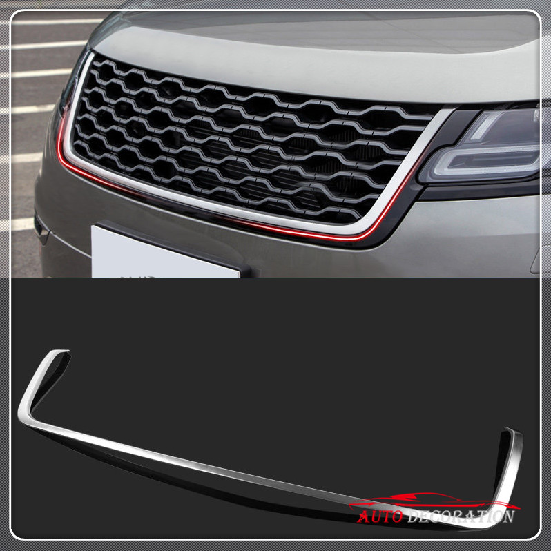 For High equipped! Exterior Car styling Steel Matte Front Grille Frame Trim 1* For Land Rover Range Rover Velar 2017 2018 silver front bumper hood center grille for land rover range rover vogue 2014 2015 2016