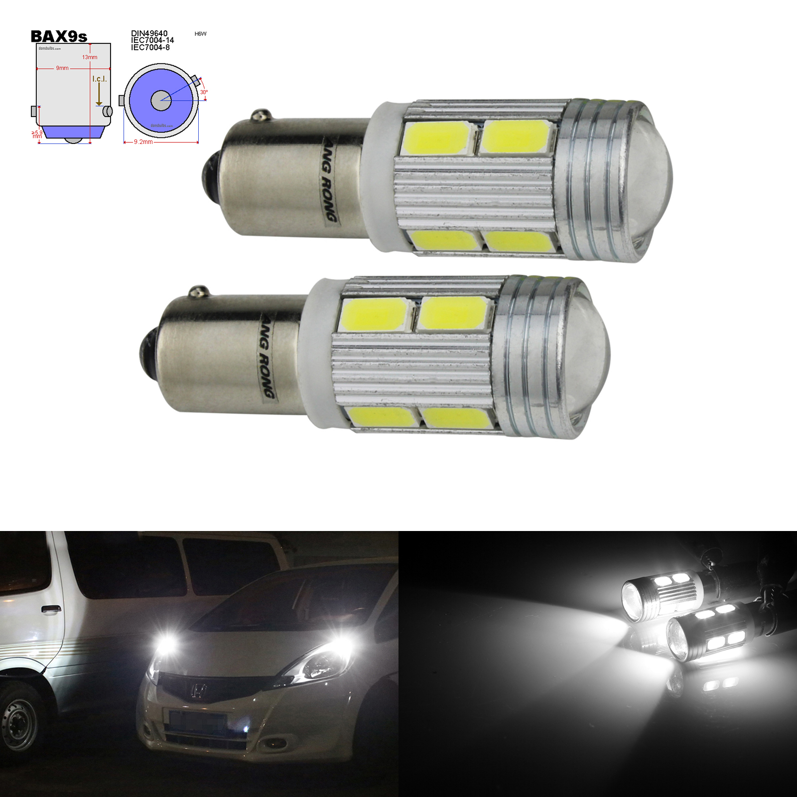 ANGRONG 2pcs H6W BAX9S Bulbs 10 LED 8W Parking Sidelight White For BMW 3 Series F30 F31 F34