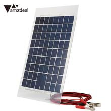 Amzdeal 18V 10W Solar Charger Panel Power Bank External Battery Pack Car Crocodile Clips Solar Cells Outdoor Travel Charging