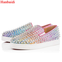 Hanbaidi Mixed Color Women Loafers Luxury Design Sparkle Rivets Studed Casual Shoes Women Runway Outfit Slip On Flat Shoes Women