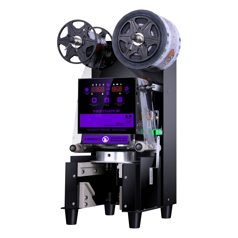 Fully Automatic Stainless cup sealing machine push pull tray automatic Plastic Bubble Tea Sealing Machine Cup